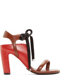 Sandalias de tacón de cuero marrónes de Maison Margiela