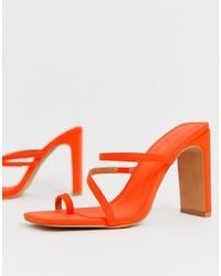 Sandalias de tacón de cuero naranjas de ASOS DESIGN