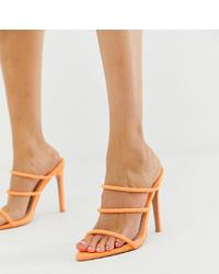 Sandalias de tacón de cuero naranjas de Boohoo