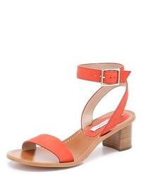 Sandalias de tacón de cuero naranjas de Diane von Furstenberg