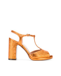 Sandalias de tacón de cuero naranjas de L'Autre Chose