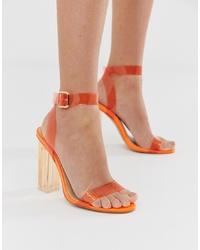 Sandalias de tacón de cuero naranjas de Public Desire