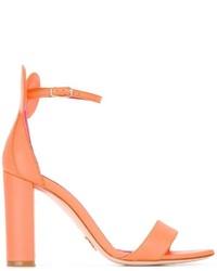 Sandalias de tacón de cuero naranjas