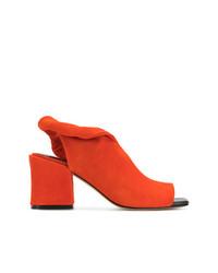 Sandalias de tacón de cuero naranjas de Sigerson Morrison