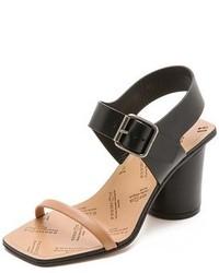 Sandalias de Tacón de Cuero Negras y Marrón Claro