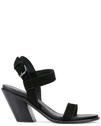 Sandalias de tacón de cuero negras de A.F.Vandevorst