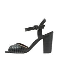 Sandalias de Tacón de Cuero Negras de Anna Field