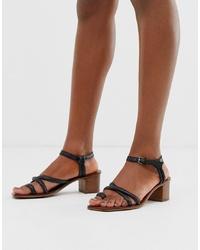 Sandalias de tacón de cuero negras de ASOS DESIGN