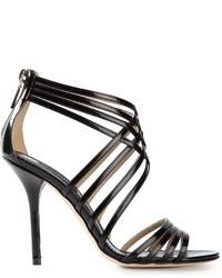 Sandalias de tacón de cuero negras de Dolce & Gabbana