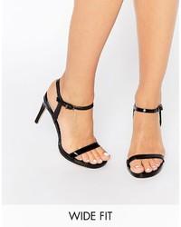 Sandalias de Tacón de Cuero Negras de Faith