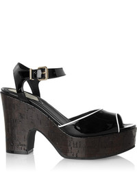 Sandalias de tacón de cuero negras de Fendi