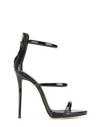 Sandalias de tacón de cuero negras de Giuseppe Zanotti Design