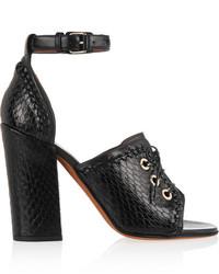Sandalias de Tacón de Cuero Negras de Givenchy
