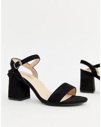 Sandalias de tacón de cuero negras de Glamorous