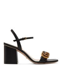 Sandalias de tacón de cuero negras de Gucci
