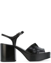Sandalias de tacón de cuero negras de Jil Sander