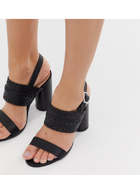 Sandalias de tacón de cuero negras de Miss Selfridge