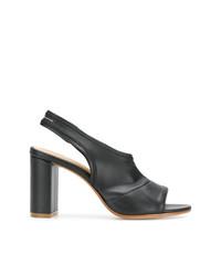 Sandalias de tacón de cuero negras de MM6 MAISON MARGIELA