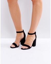 Sandalias de tacón de cuero negras de New Look