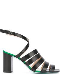 Sandalias de tacón de cuero negras de Paul Smith