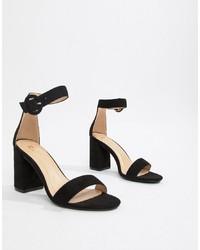Sandalias de tacón de cuero negras de RAID