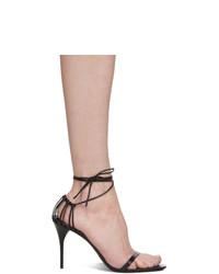 Sandalias de tacón de cuero negras de Saint Laurent