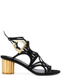 Sandalias de tacón de cuero negras de Salvatore Ferragamo
