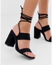 Sandalias de tacón de cuero negras de SIMMI Shoes