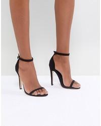Sandalias de tacón de cuero negras de Truffle Collection