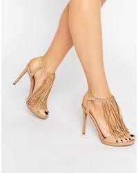 Sandalias de tacón de cuero сon flecos marrón claro