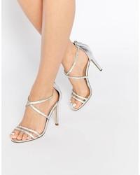 Sandalias de Tacón de Cuero Plateadas de Aldo