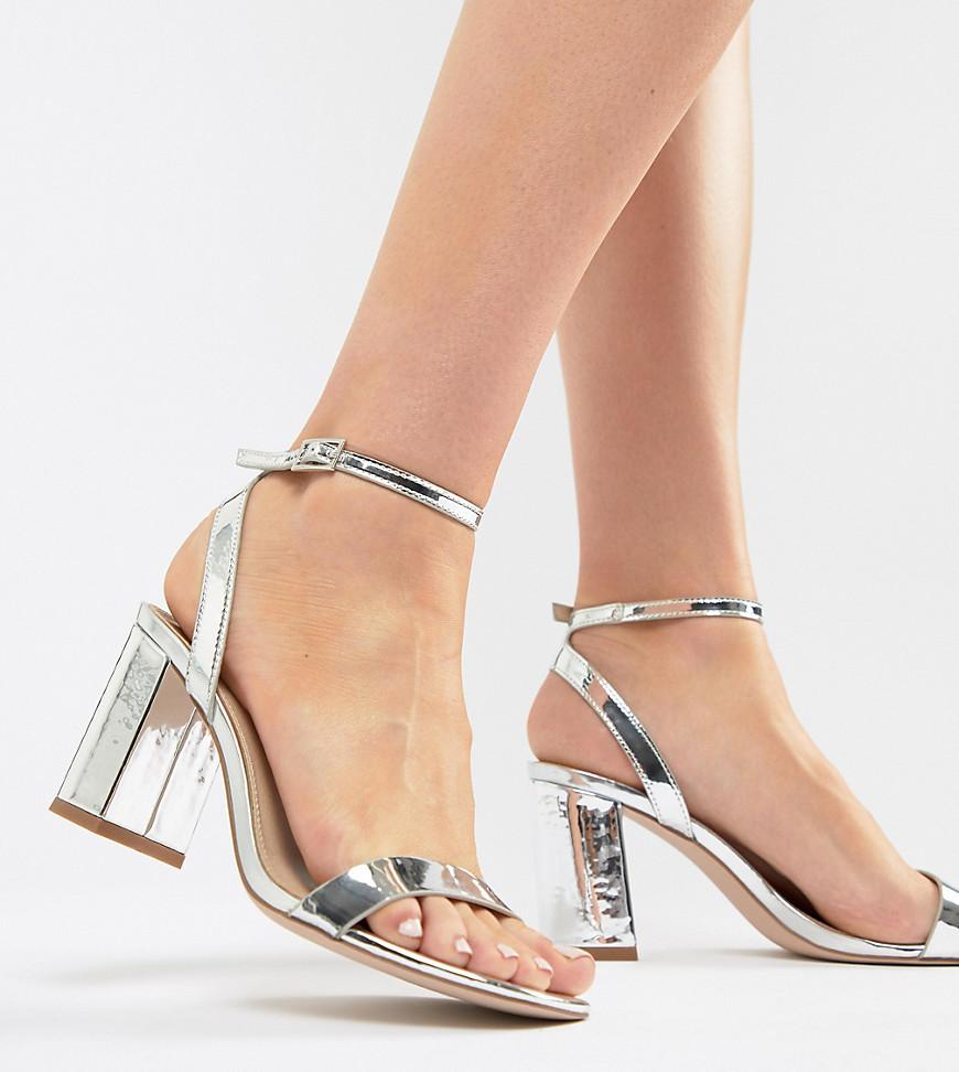 Sandalias de tacón de cuero plateadas de ASOS DESIGN
