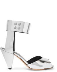 Sandalias de tacón de cuero plateadas de Etoile Isabel Marant