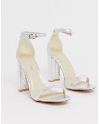 Sandalias de tacón de cuero plateadas de Glamorous