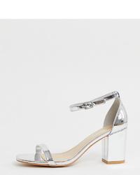 Sandalias de tacón de cuero plateadas de Glamorous Wide Fit