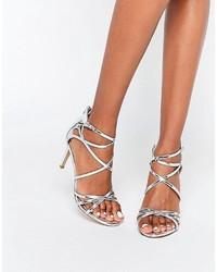 Sandalias de Tacón de Cuero Plateadas de Head Over Heels