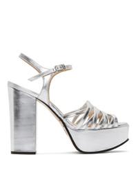 Sandalias de tacón de cuero plateadas de Marc Jacobs