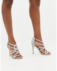 Sandalias de tacón de cuero plateadas de New Look