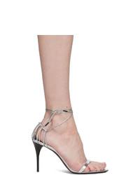 Sandalias de tacón de cuero plateadas de Saint Laurent