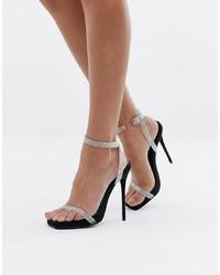 Sandalias de tacón de cuero plateadas de SIMMI Shoes