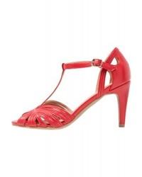 Sandalias de Tacón de Cuero Rojas de Anna Field