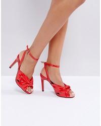 Sandalias de tacón de cuero rojas de ASOS DESIGN