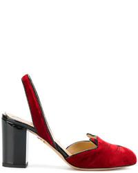 Sandalias de tacón de cuero rojas de Charlotte Olympia