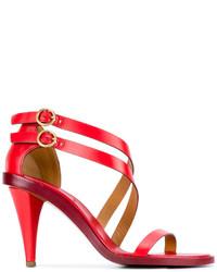 Sandalias de tacón de cuero rojas de Chloé