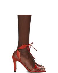 Sandalias de tacón de cuero rojas de Gucci