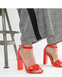 Sandalias de tacón de cuero rojas de LOST INK