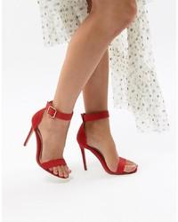 Sandalias de tacón de cuero rojas de Missguided