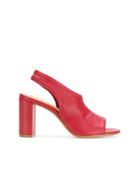 Sandalias de tacón de cuero rojas de MM6 MAISON MARGIELA