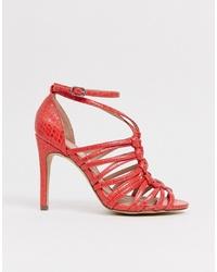 Sandalias de tacón de cuero rojas de New Look