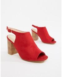 Sandalias de tacón de cuero rojas de Park Lane